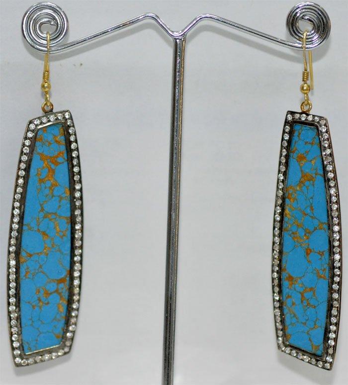 Turquoise Gemstone Studded Chandelier Earrings