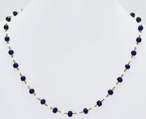 African Blue Sapphire& Natural Sea Water Pearl Necklace
