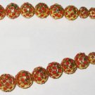 22Kt Gold Foil Lac Balls Studded Natural Coral Beads