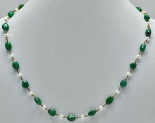 Emerald Oval Shape Cabochon Beads with Sea Water Pearls