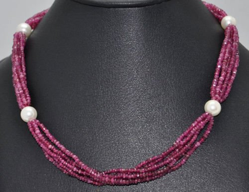 Pink Tourmaline Natural Gemstone Beads with Pearls
