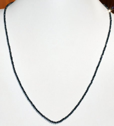 Black Diamond Bead Necklace 18K Gold Clasp Lowest Price
