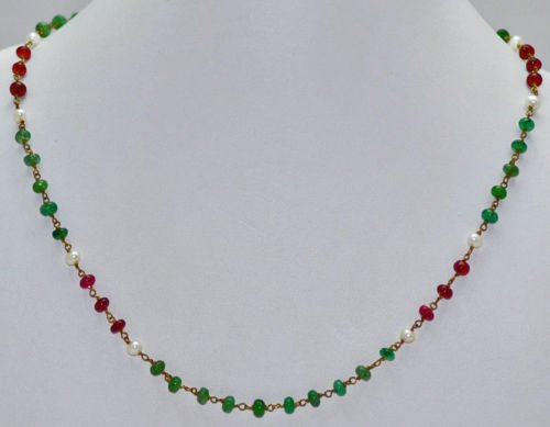 Emerald, Pink Spinal & Sea Water Pearl Beads Necklace