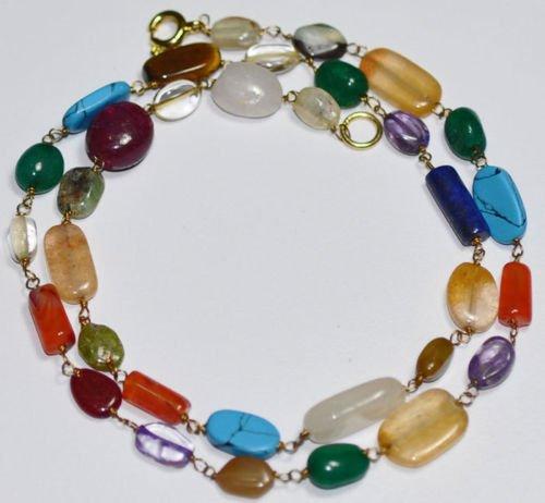 Multi Color Gemstone Strand Fashion Jewelry Necklace