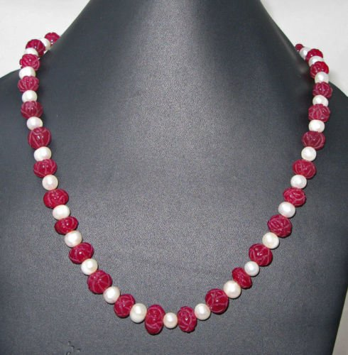 Ruby Incurved Melon Beads with Natural Pearls