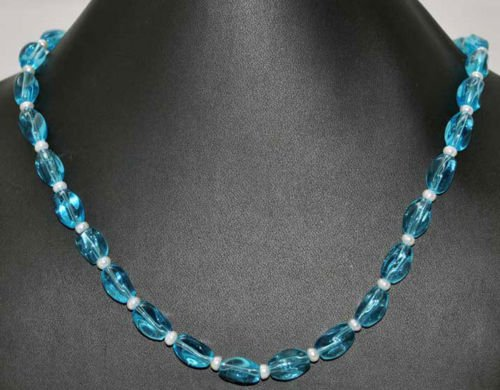 Blue Quartz Fashion Jewellery Necklace with Pearls