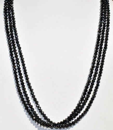 3 Rows Necklace of Black Diamond Faceted Beads