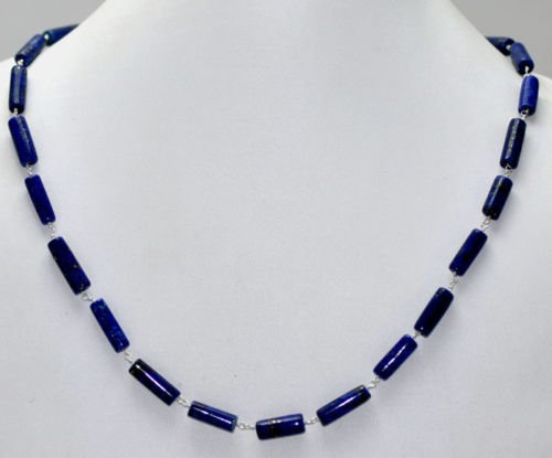 Lapis Gemstone Pipe Shape Fancy Beads Necklace