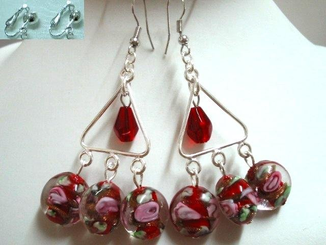 Victoria rosary glass chandelier dangle earring for woman