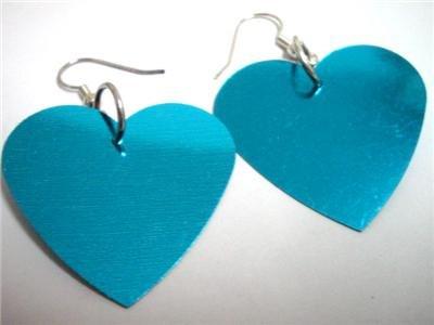 Aqua blue heart sequin dangle earring for woman