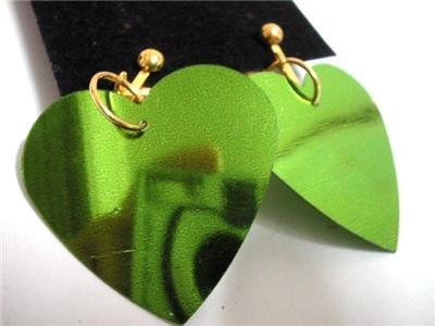 Green heart sequin dangle kid girl clip on earring