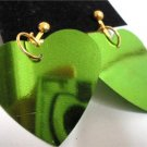 Green heart sequin dangle kid girl clip on earring