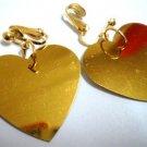 Golden heart sequin dangle clip on earring