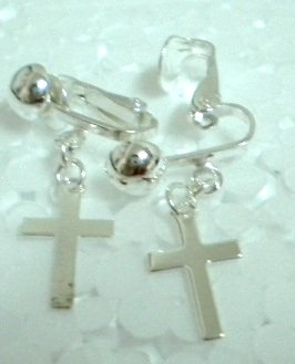 Birthday party return gift Religious holy cross charm drop clip on pierced earring
