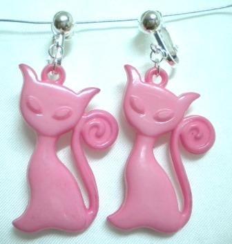 Pink cat pet charm bead dangle clip on earring