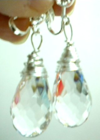 Handmade wire wrap acrylic crystal drop dangle clip on earring