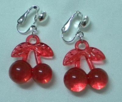 Red cherry girl clip on earring