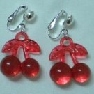Red cherry girl clip on earring