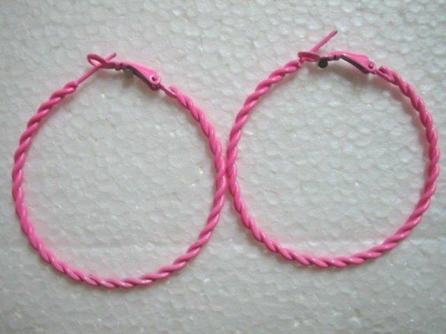 """Pink twist huge huggie hoop earring 5cm 2"""""""