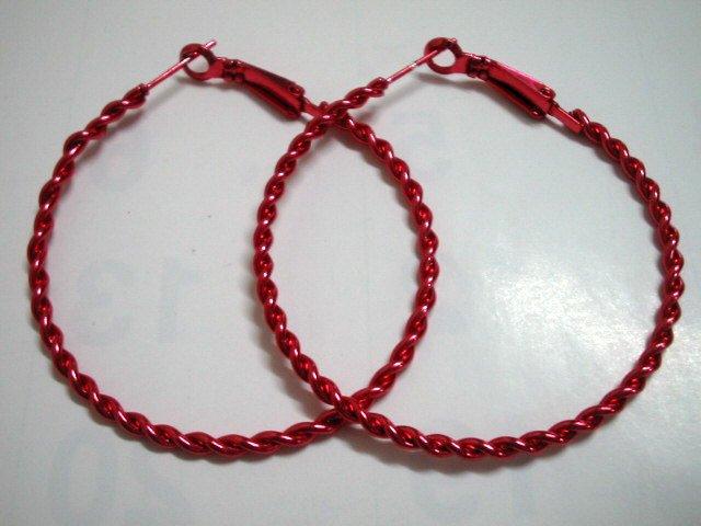 """Red twist huge huggie hoop earring 5cm 2"""""""