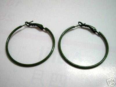 Green huge huggie hoop earring 4cm
