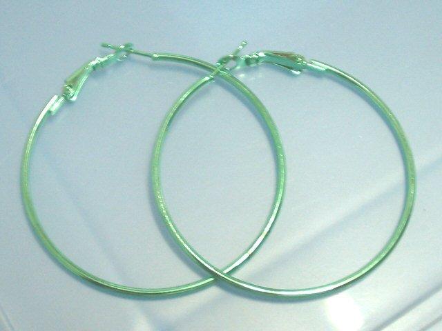 Green huge huggie hoop earring 4cm / 5cm
