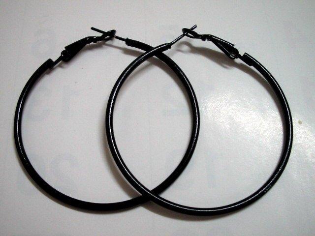 Black huge huggie hoop earring 4cm for woman