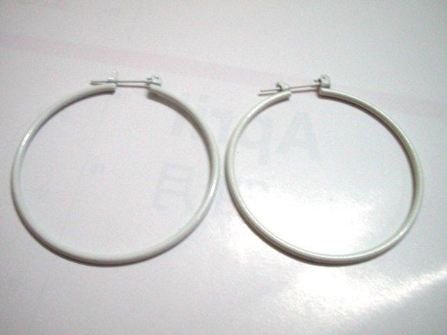 White huge huggie hoop earring 4cm / 4.5cm