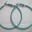 Blue twist huge huggie hoop earring 5cm 2""