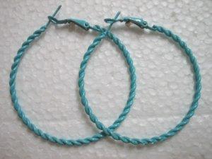 """Blue twist huge huggie hoop earring 5cm 2"""""""