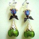 Handmade heart angel wing dangle earring
