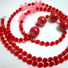 Handmade Rose red flower beads kid girl long necklace up to 39 inch