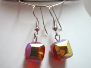 Red glass cube beads dangle earring