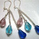 Triple glass teardrop kid girl dangle earring for woman