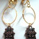 Girl dress charm dangle clip on earring