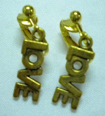 Girl jewelry Golden letter love charm dangle clip on earring