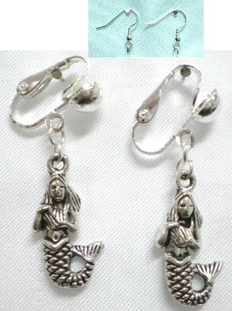 Girl jewelry Mermaid charm dangle clip on earring