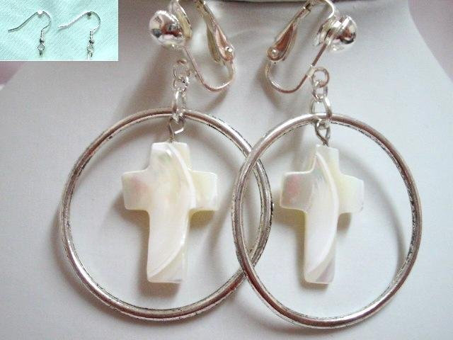 Religious Mother of pearl cross hoop clip on earring for woman