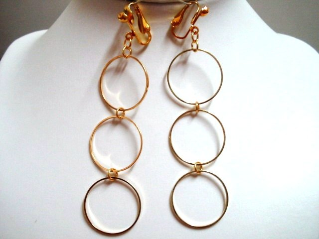 "3.5"" Triple golden hoop dangle clip on earring"