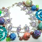 """Smiling face faux pearl rose bead bracelet up to 9"""""""