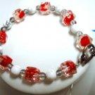 """Simple turquoise quartz flower glass bracelet 7-1/8"""""""
