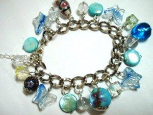 """Glass butterfly mop shell coin bracelet 6.5"""" -8.5"""""""