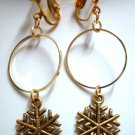 Children Jewelry Golden snow flake circle hoop clip on earring
