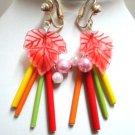 Girl Jewelry Rose red leaf faux pearl tube clip on earring
