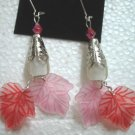 Pink red maple leaf dangle earring 5.5cm