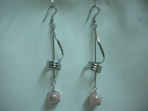 Swirl twist rose pink drop pierced dangle earring 7.5cm