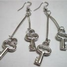 Girl jewelry key charm silver plated dangle earring