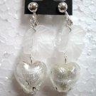 Jewelry snow white maple lampwork heart bead clip on earring