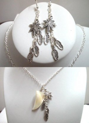 Jewelry Maple charm MOP crimp tusk tooth necklace pierced earring set