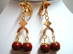 """Handmade red jasper clip on earring dangle earring 2"""" (5cm)"""